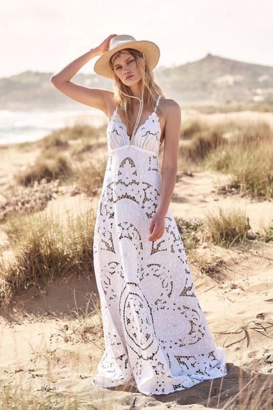 Celia Dragouni White Flower Beauty Bridal Dress