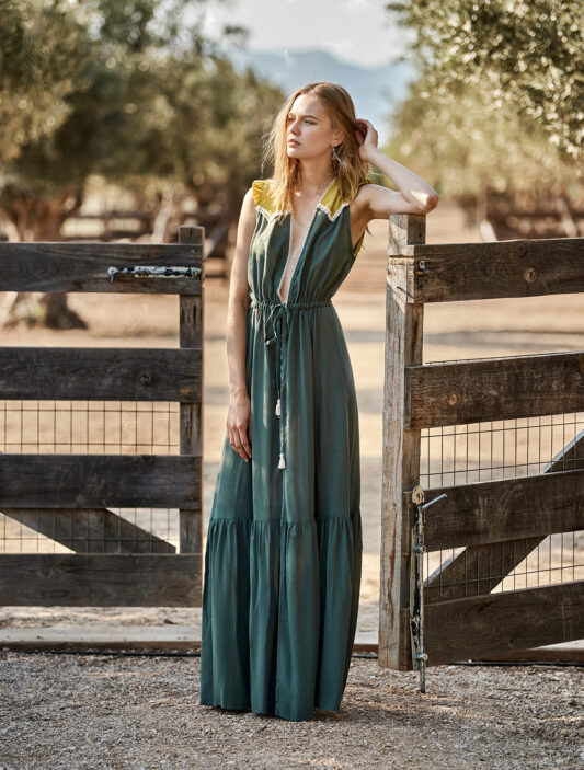 Celia Dragouni Green Field long dress