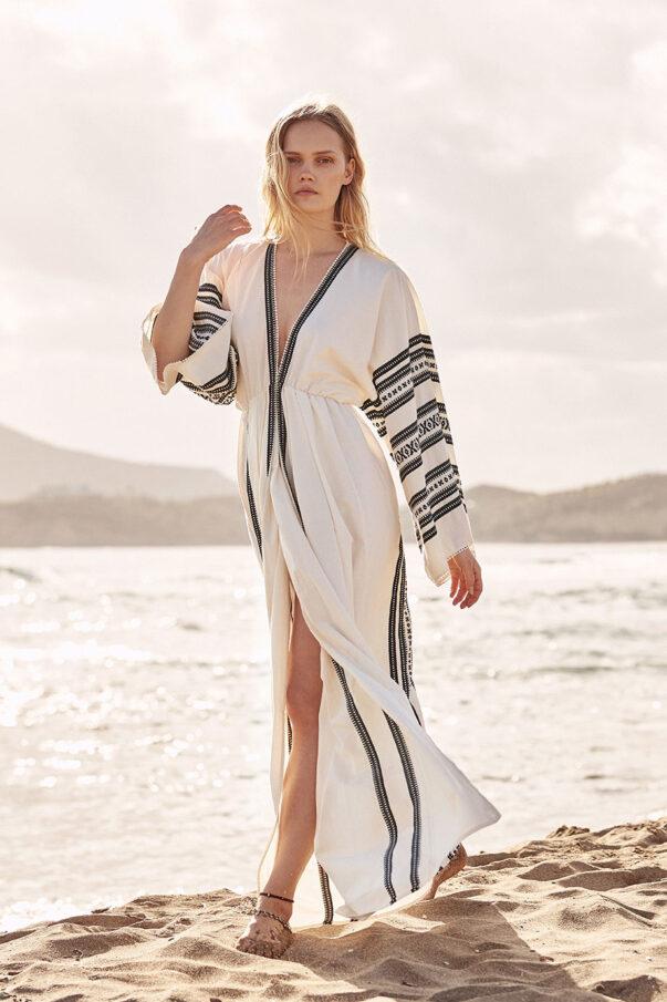 Celia Dragouni Woven Kaftan Dress