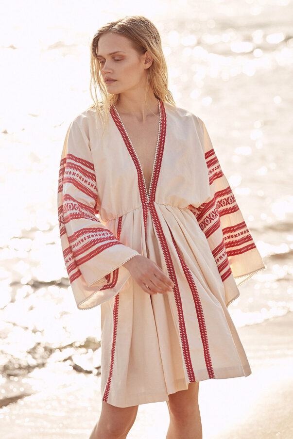 Celia Dragouni Woven Kaftan Dress