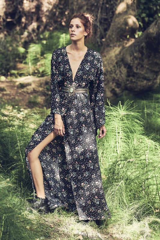 Celia Dragouni Black Flower kimono dress