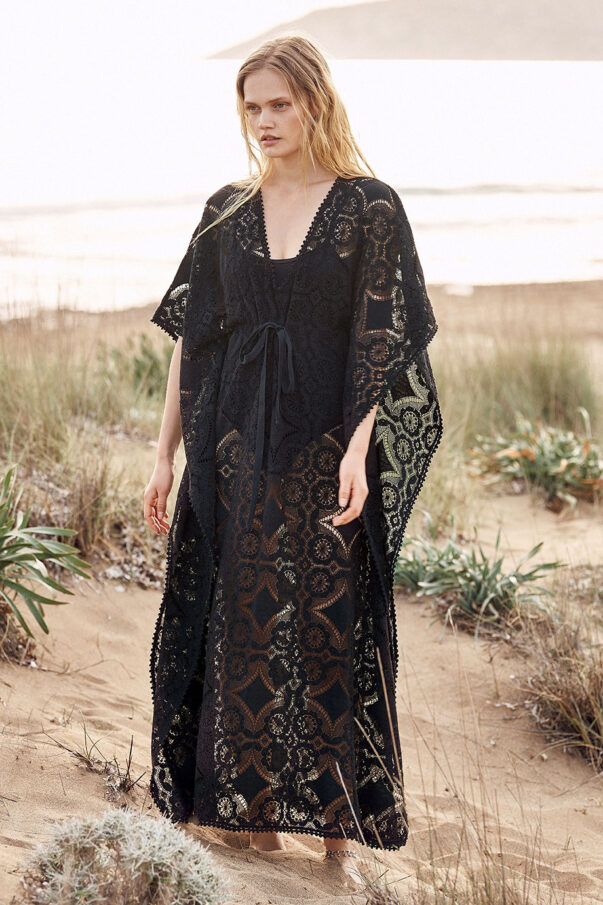 Celia Dragouni Cotton Star Long Kaftan Dress