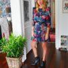 Celia Dragouni The Blue Floral Satin Dress