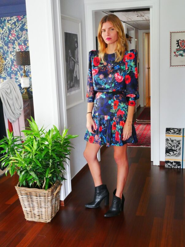 Celia Dragouni The Blue Floral Satin Dress