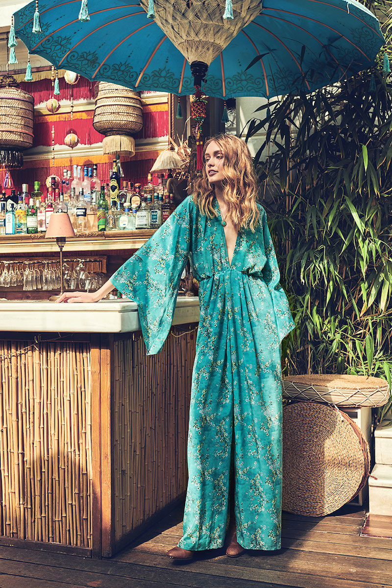 Celia Dragouni Turquoise Floral Long Dress