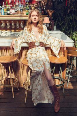 Celia Dragouni Yellow Floral Long Dress