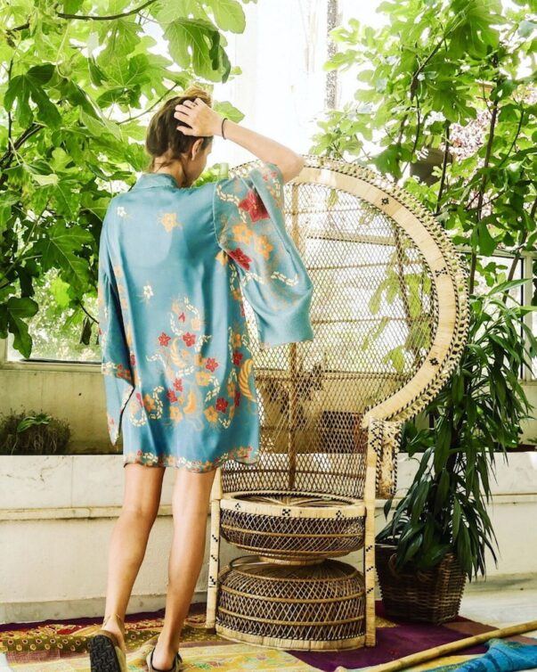 Celia Dragouni The Satin Blue Balinese Kimono Robe
