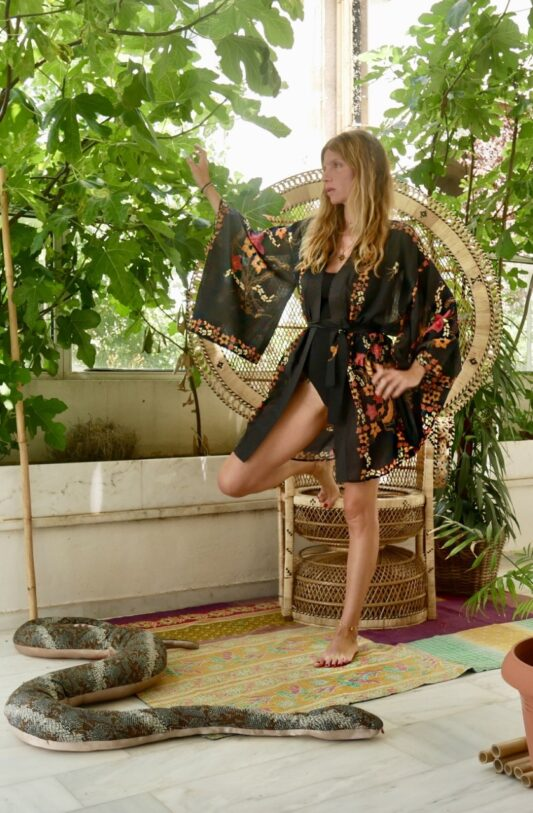 Celia Dragouni The Cotton Black Balinese Kimono Robe