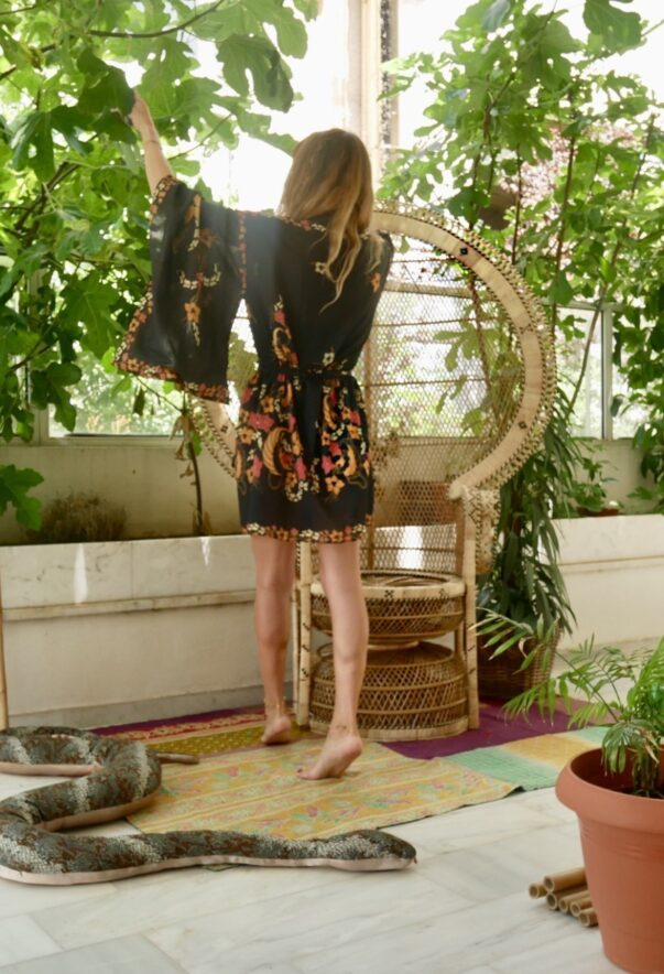 Celia Dragouni The Cotton Black Balinese Kimono Robe