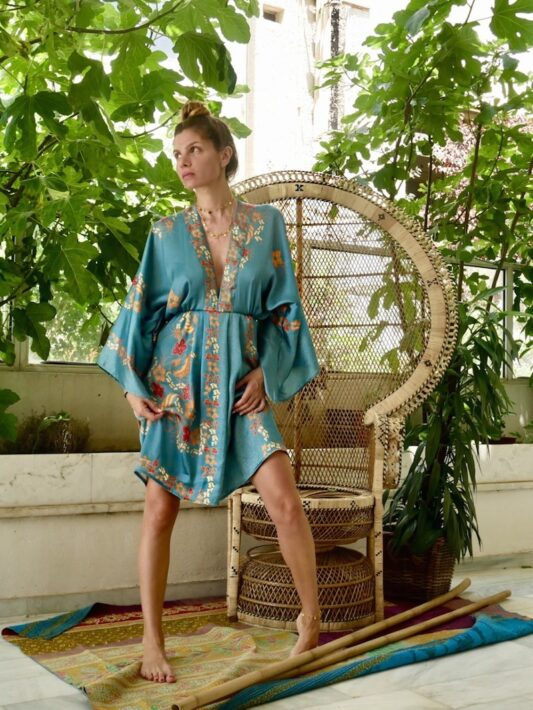 Celia Dragouni The Satin Blue Balinese Mini Kimono