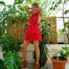 Celia Dragouni Red Diamond Ruffled Dress