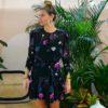 Celia Dragouni Black Floral Wrap Dress