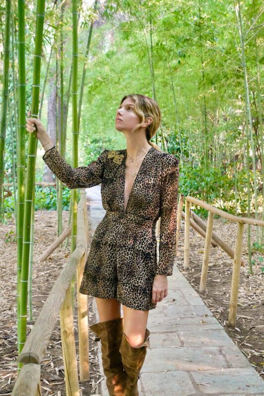 Celia Dragouni Leopard Motif Playsuit