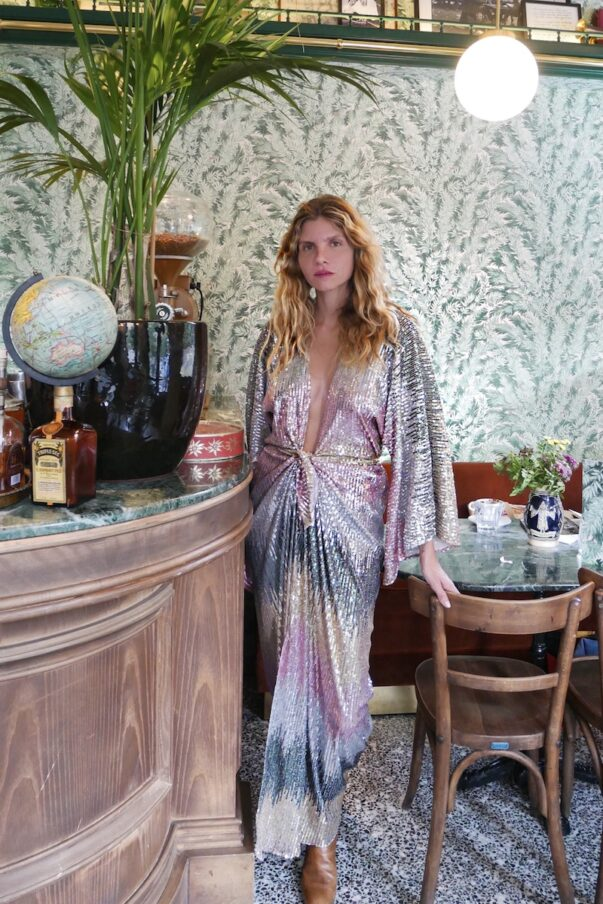 Celia Dragouni The Long Dusty Disco Dress