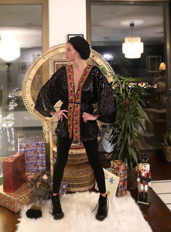 Celia Dragouni Blackbird Short Kimono