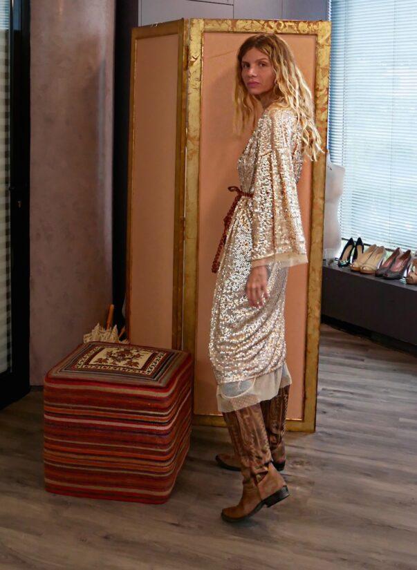 Celia Dragouni Pink Gold Sequin Love