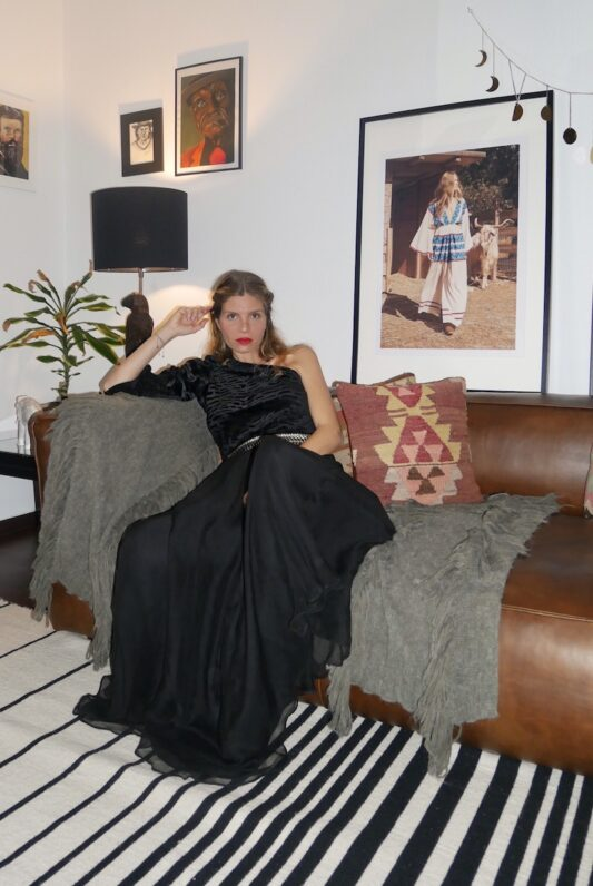 Celia Dragouni Black Velvet Top