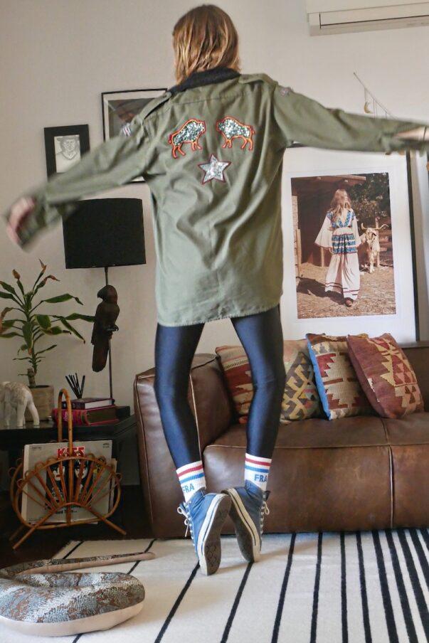 Celia Dragouni The Sequin Buffalo Army Jacket