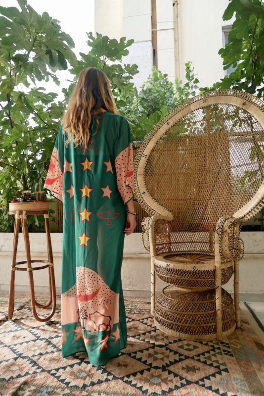 Celia Dragouni Green Buffalo Star Kimono