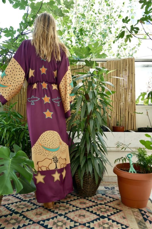 Celia Dragouni Purple Buffalo Star Kimono Dress