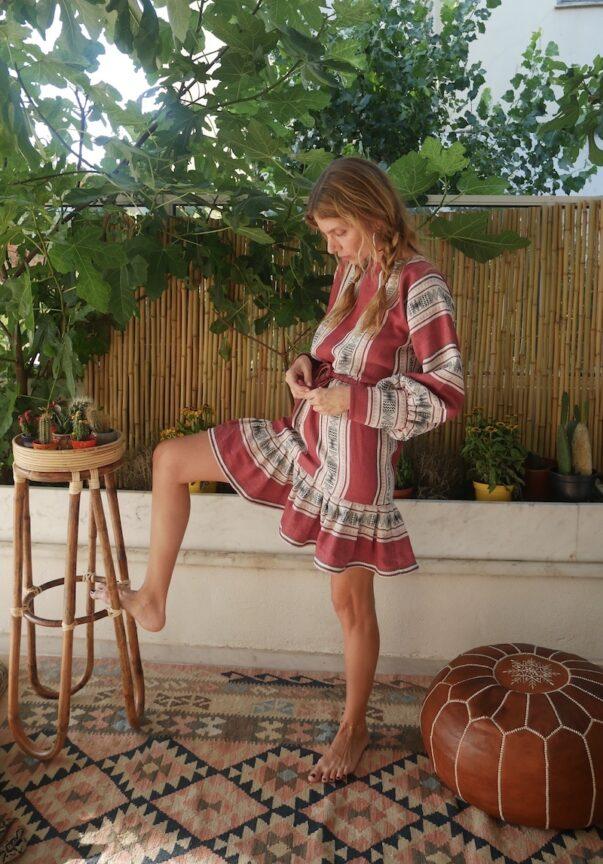 Celia Dragouni Red Jacquard Mini Ruffled Dress