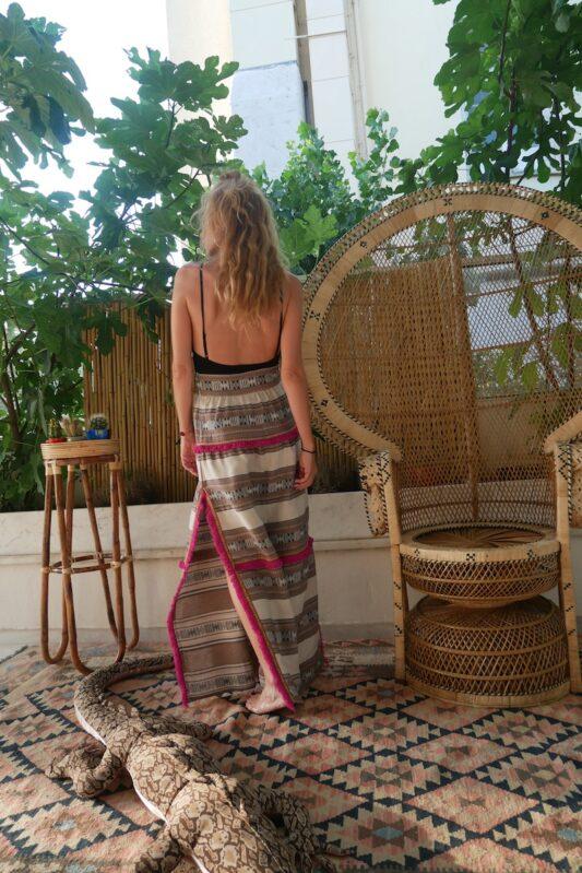 Celia Dragouni Afro Vibes Taupe Long Skirt