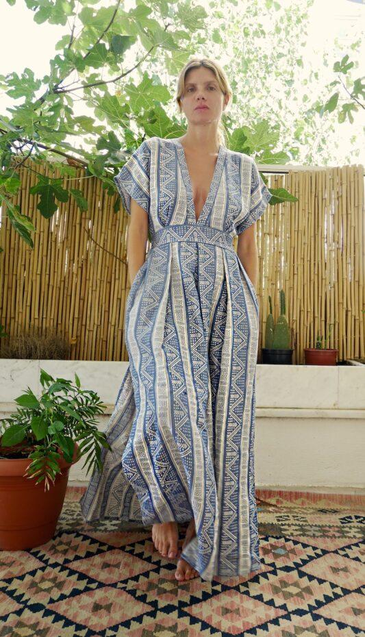 Celia Dragouni Blue Sea Long Kaftan Dress