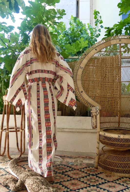 Celia Dragouni Eagle Pink Long Kimono Dress