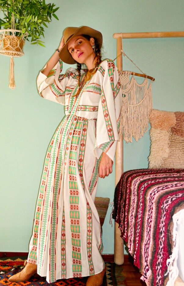 Celia Dragouni Eagle Green Long Kimono Dress