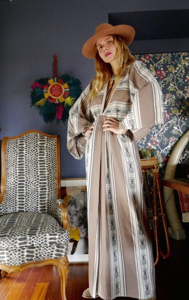 Celia Dragouni Afro Vibes Taupe Kimono Dress