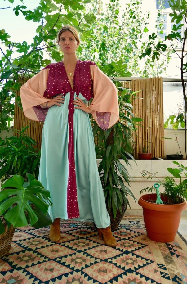 Celia Dragouni The Turquoise Eagle Moon Kimono Dress