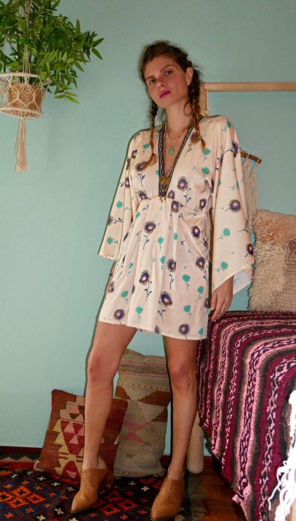 Celia Dragouni The Yellow Mini Dandelion Kimono Dress