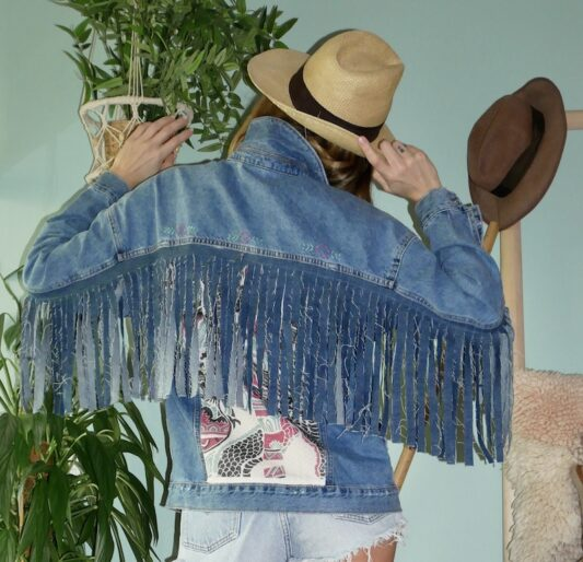 Celia Dragouni The Dragon Fringed Jean Jacket
