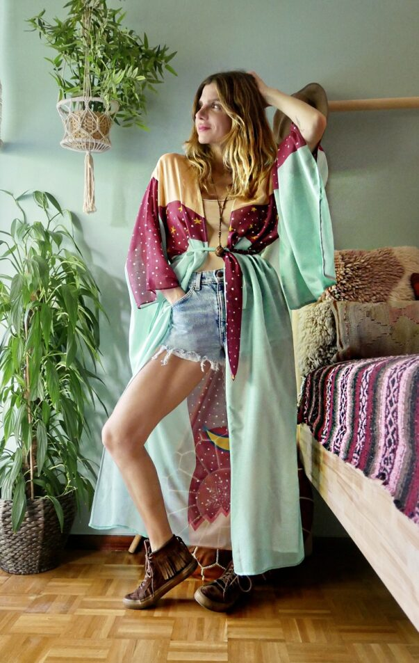 Celia Dragouni The Turquoise Eagle Star Kimono