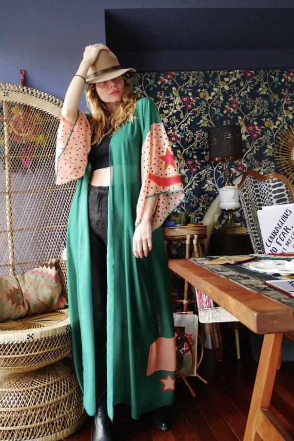 The Green Buffalo Star Kimono Robe