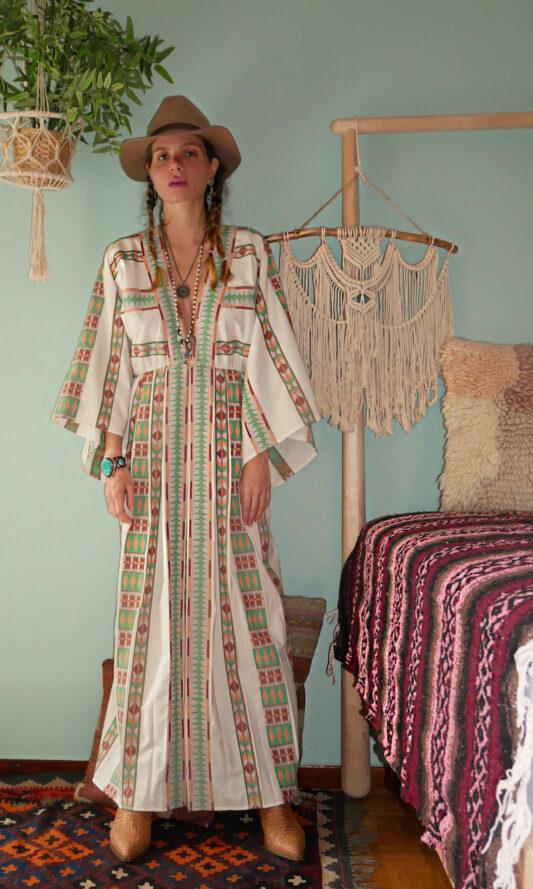 Celia Dragouni Eagle Green Long Kimono Dress