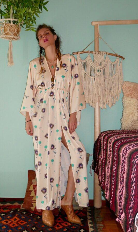 Celia Dragouni The Yellow Dandelion Kimono Dress
