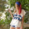 Celia Dragouni The Apache Turquoise Kaftan Top