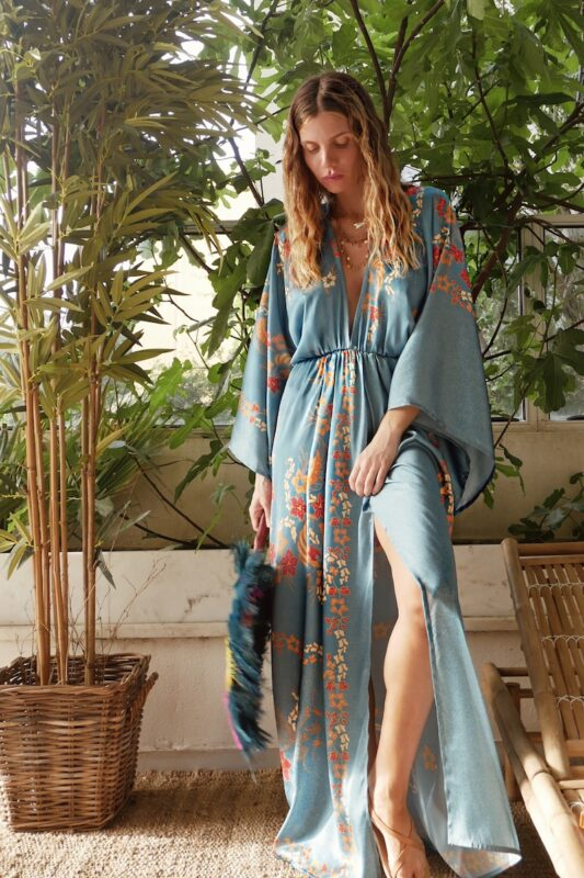 Celia Dragouni Long Sleeve Balinese Maxi Dress