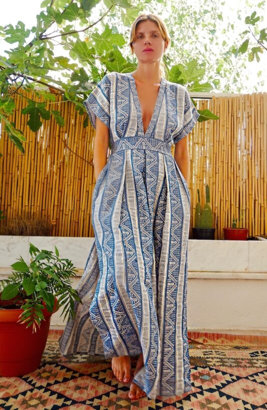 Celia Dragouni Blue Sea Long Kaftan Dress