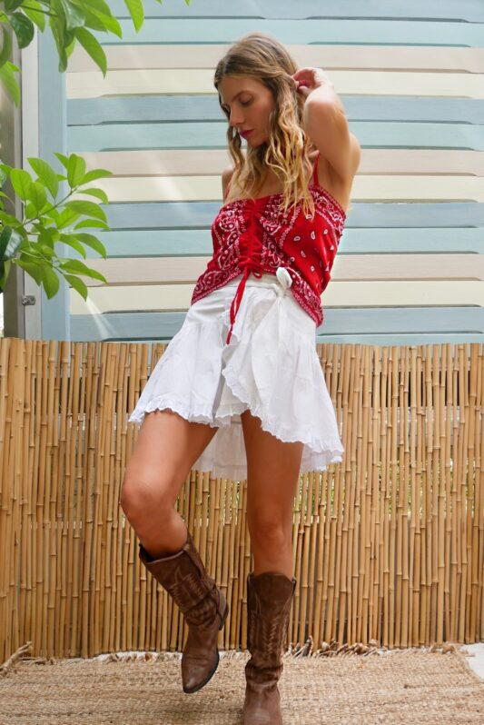 Celia Dragouni The Red Bandana Draw String Top