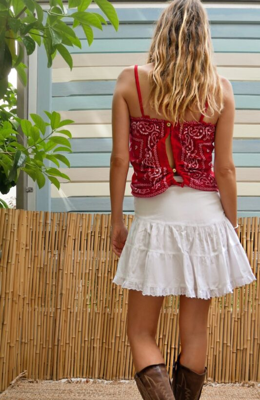 Celia Dragouni The Red Bandana Draw String Top