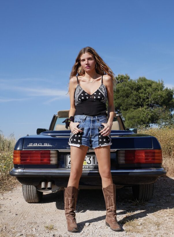 Celia Dragouni The Black Bandana Jean Shorts