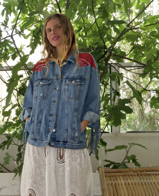 Celia Dragouni The Red Bandana Fringed Jean Jacket