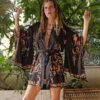Celia Dragouni The Cotton Touch Black Balinese Kimono Robe