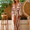 Celia Dragouni Eagle Pink Long Kimono Dress