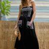 Celia Dragouni The Black Bandana Strapless Dress