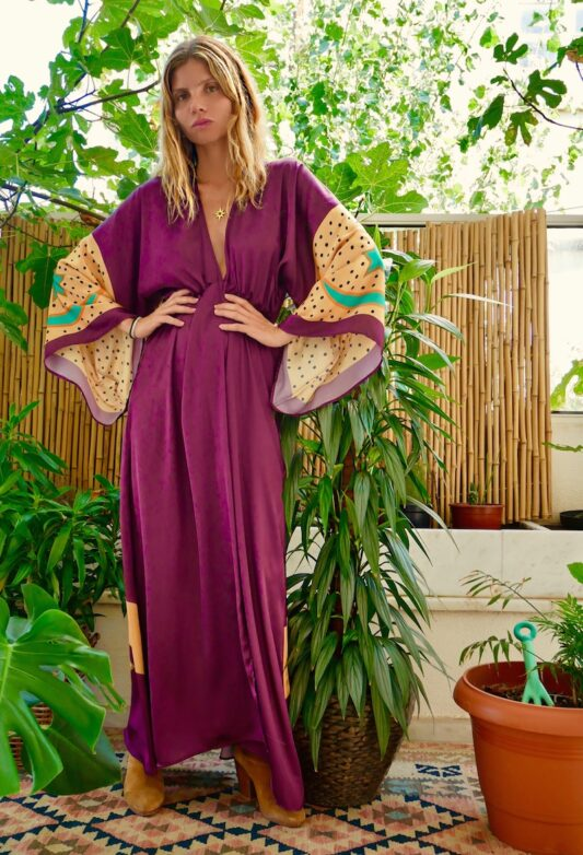 Celia Dragouni Purple Buffalo Kimono Dress