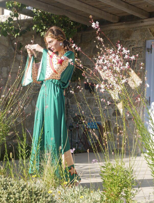 Celia Dragouni The Green Buffalo Star Kimono Dress