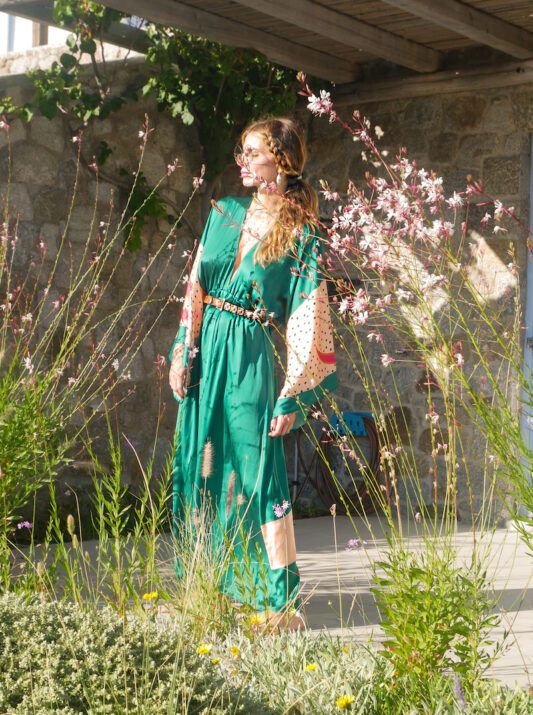 Celia Dragouni The Green Buffalo Star Kimono Dress